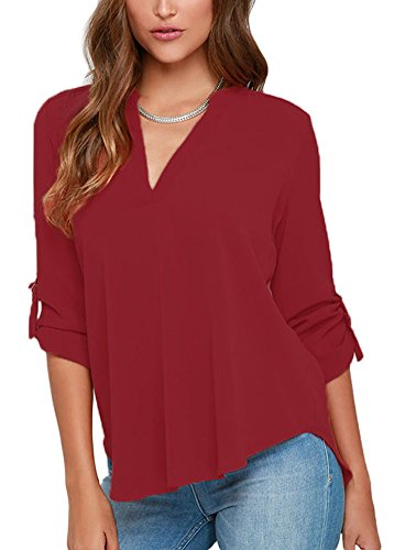 roswear Women's Casual V Neck Cuffed Sleeves Solid Chiffon Blouse Top Red (Dress Pants Skirt Top Blouse)