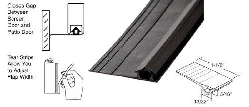 Black Vinyl Adjustable Width Bug Strip, 1-1/2'' Max Width - 100 ft Roll