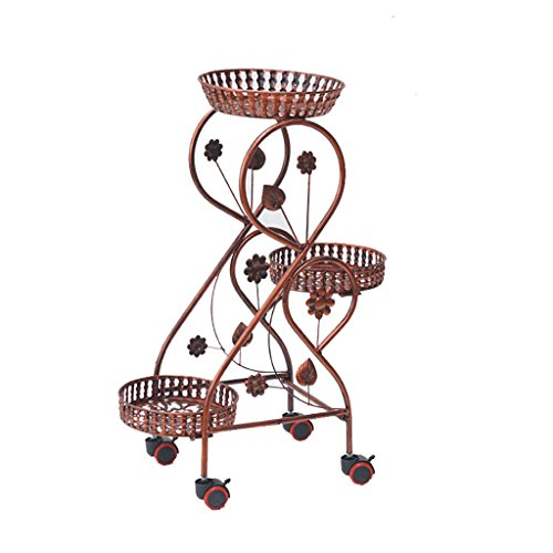 - LQQGXL Plant Storage Rack Wrought Iron Flower Stand, Multi-Storey Floor-Standing Flower Stand, Living Room/Balcony Decorative Flower Stand, 432883 cm (Color : Red Copper Belt Brake Wheel)