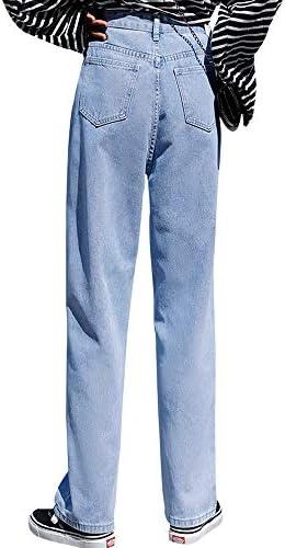 (シソフトリー)デニム パンツ レディース ハイウエスト ワイド パンツ春 夏 ポケット付き 着脱簡単 オシャレ 便利 ジーパン 十分丈 ロング 体型カバー 美脚 パンツ ゆったり ズボン カジュアル 春 夏 秋