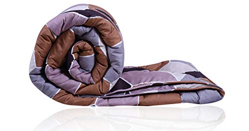 Decoforia Honey Comb Microfiber Reversible Quilt Blanket AC Comforter, Double, 120 GSM, Brown