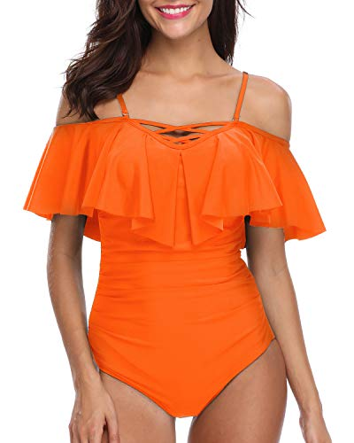 Holipick Women One Piece Sexy V Neck Off Shoulder Ruched Flounce Flutter Tummy Control Backless Monokini Swimsuit Orange Rose XXL