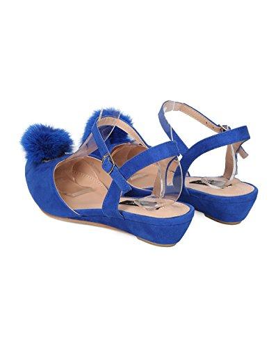 Dbdk Femmes Faux Daim Pom Pom Wedge - Habillé, Décontracté, Filles Nuit - Dorsay Sandale - Gd39 Par Royal Blue
