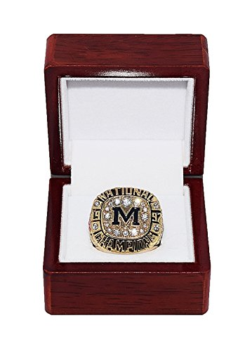 UNIVERSITY OF MICHIGAN (Brian Griese) 1997 NCAA FOOTBALL NATIONAL CHAMPIONS (Rose Bowl) Rare & Collectible High-Quality Replica Football Gold Championship Ring with Cherrywood Display Box Trackside Autographs