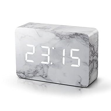 Gingko Brick Marble Click Clock - White LED