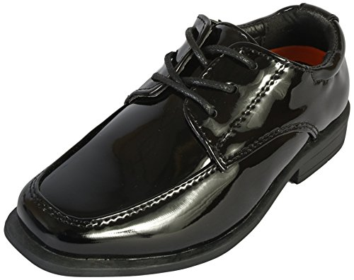 Jodano Collection Boys Memory Foam Lace up Dress Shoe, Black Patent, 7 M US Toddler' by Jodano Collection