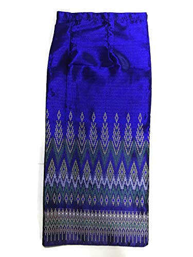 (Silk & Fibers Long Thai Fabric Traditional Asian Style Warp Skirt Sarong Free Size (with Hook for DIY) (L#3 BB))