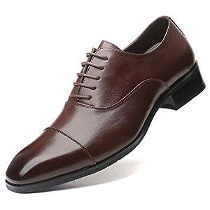 [ZanYeing] 走れる ビジネスシューズ メンズ 牛革 24cm-28cm 革靴 内羽根式 ストレートチップ 脚長 紳士靴