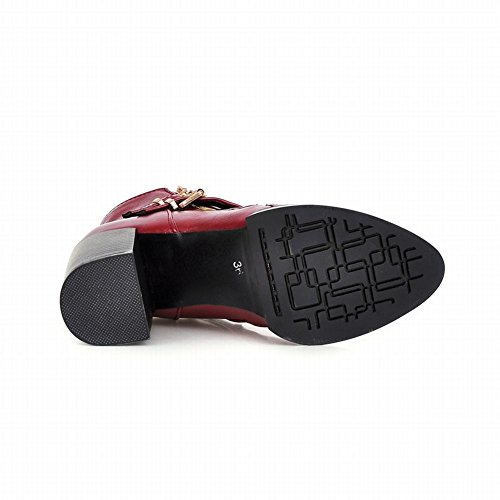 Retro High Heel Boots Zipper Short Red Buckles Carolbar Fashion Womens Vintage qxnIYCwpf