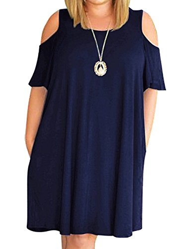 (Kancystore Women Plus Size Dresses Short Sleeve Cold Shoulder Casual T-Shirt Swing Dress with Pockets (3X, Navy Blue))