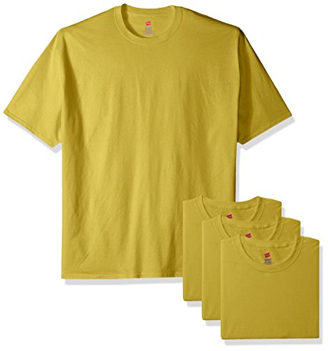 Hanes Men's ComfortSoft T-Shirt (Pack Of 4), Yellow, X Large