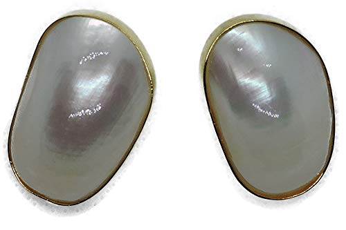 Nina Garcia B Gold Plated Bronze Earrings with Natural White Stones. (Shell of Mother-of-Pearl). 1.5