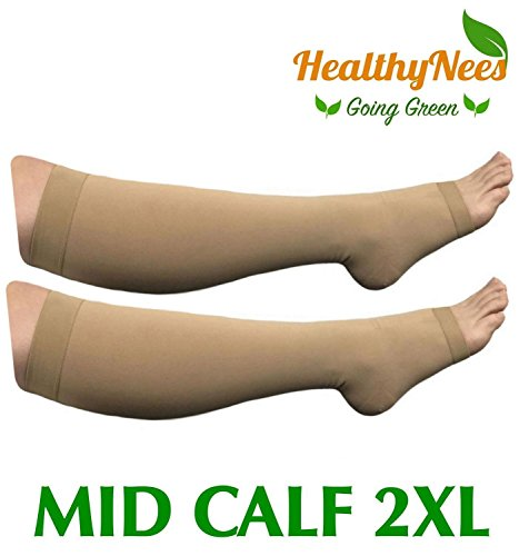 HealthyNees Big Tall Plus Size Wide Calf & Extra Wide 20-30 mmHg Open Toe Medical Compression Leg Swelling Circulation Men Women Socks (Beige, Mid Calf 2XL) Mmhg Womens Open Toe