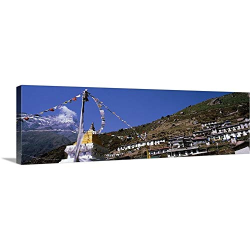 (GREATBIGCANVAS Gallery-Wrapped Canvas Entitled Nepal, Sagarmatha National Park, Namche Bazaar, Low Angle View of terraced housing on a Mountain by 72