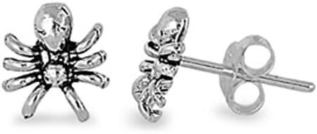 Tiny Spider Stud Post Earrings 925 Sterling Silver Kids, Children