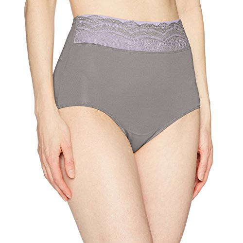 Warner's Women's No Pinching No Problem Microfiber with Lace Brief Panty, Graphite Gray, XXXL