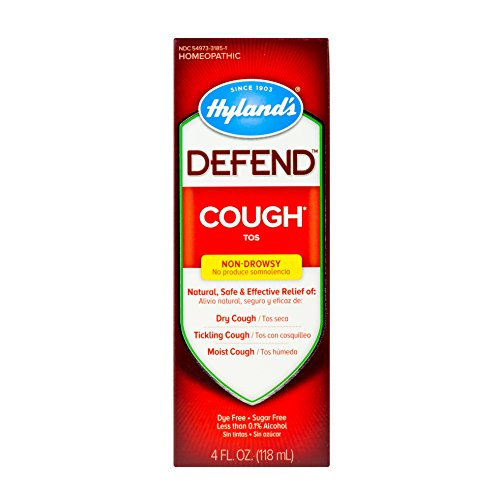 Cough Syrup by Hyland's Defend, Cough Medicine, Mucus and Sore Throat Relief, Non-Drowsy, Natural Cough Suppressant for Adults, 4 Fl Oz (The Best Cough Syrup For Dry Cough)