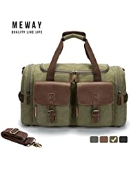 MEWAY Canvas Genuine Leather Overnight Bag Travel Duffel with Strap