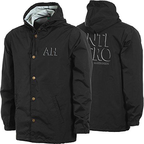 Antihero Drop Hero Hooded Windbreaker Jacket (Black/Reflective) (Large) by Antihero