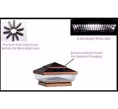 "USA Premium Store 8 Copper 5-LED 4"" X 4"" Solar Post Deck Cap Fence Light W Lithium-Ion Battery"