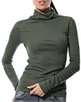 KalvonFu Women's Modal Turtleneck Long Sleeve Pullover Slim Fit Casual T-Shirt