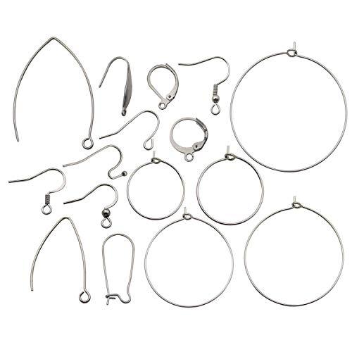 160pcs Mix Style Stainless Steel Dangle Earring French Wire Hooks Earring Hooks Findings for DIY Jewellery Making Earrings Findings M325 (Surgical Steel Ear Wires)