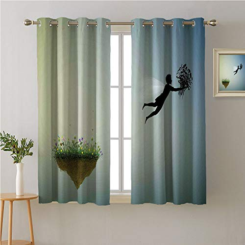 Jinguizi Neverland Grommet Curtain Panels,Little Boy Flying Away and Holding Pigeons in The Dream Land Childish,Night Darkening Curtains,63W x 63L