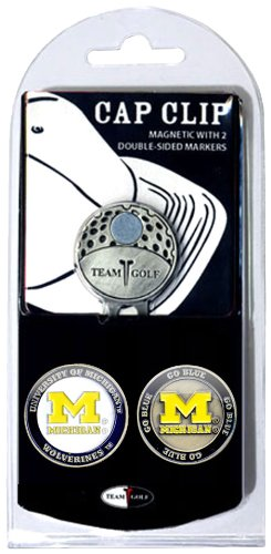 Team Golf NCAA Michigan Wolverines Golf Cap Clip with 2 Removable Double-Sided Enamel Magnetic Ball Markers, Attaches Easily to - Michigan Enamel