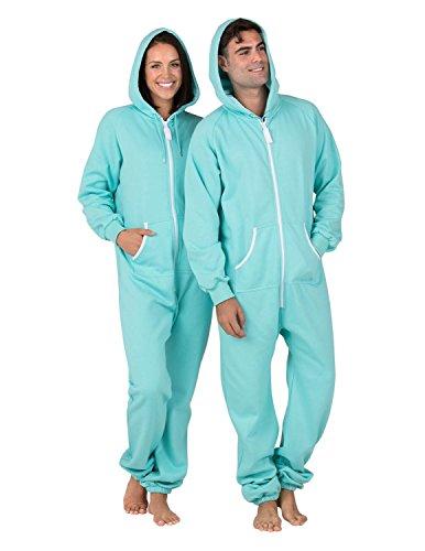 Footed Pajamas - Aruba Blue Adult Footless Hoodie One Piece-XSmall -