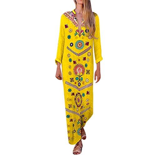Woboke Fashion Women Long Sleeve Printed V-Neck Maxi Dress Hem Baggy Long Dress Yellow