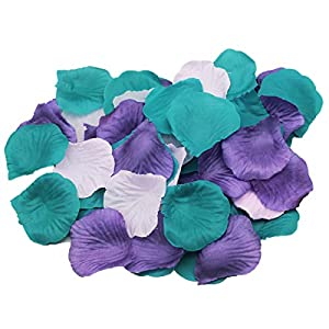 ALLHEARTDESIRES 900 Pack Purple Lavender Teal Mixed Mermaid Party Supplies Silk Rose Flower Petals Wedding Table Confetti Girl Baby Shower Birthday Bridal Shower Party Garden Aisle Decoration 31