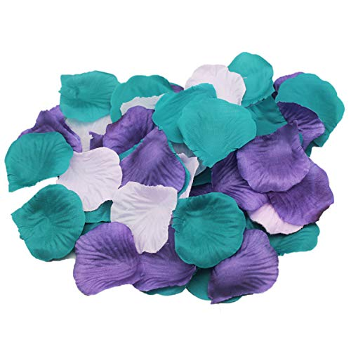 (ALLHEARTDESIRES 900 Pack Purple Lavender Teal Mixed Mermaid Party Supplies Silk Rose Flower Petals Wedding Table Confetti Girl Baby Shower Birthday Bridal Shower Party Garden Aisle Decoration)