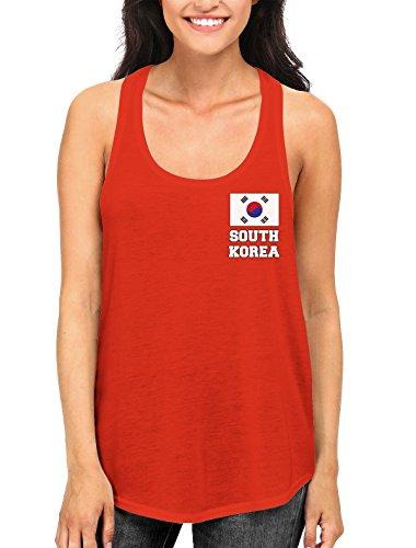 SpiritForged Apparel South Korea Chest Flag Women's Racerback Tank Top, Red XS