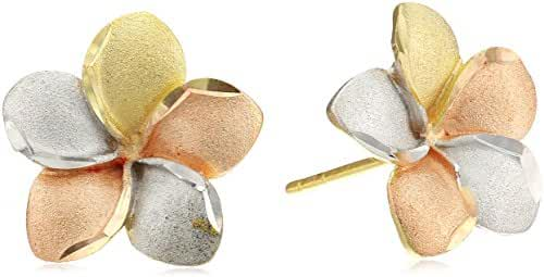 14k Tri-Color Gold Flower Stud Earrings
