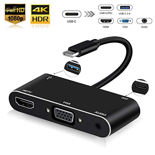 (USB-C Digital AV Multiport Adapter, NEWPOWER USB 3.1 Type C to VGA (1080P)/ HDMI (Up to 4k) Adapter with 3.0 Audio and USB-C Charger Adapter, Compatible with Apple MacBook/Nintendo Switch (Black))