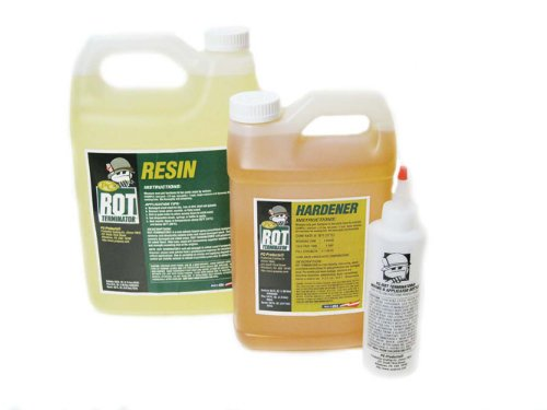- PC Products PC-Rot Terminator Epoxy Wood Hardener, Two-Part 1.5gal in Two Bottles, Amber 192610