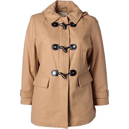 MICHAEL Michael Kors Womens Plus Wool Blend Hooded Duffle Coat Brown 1X
