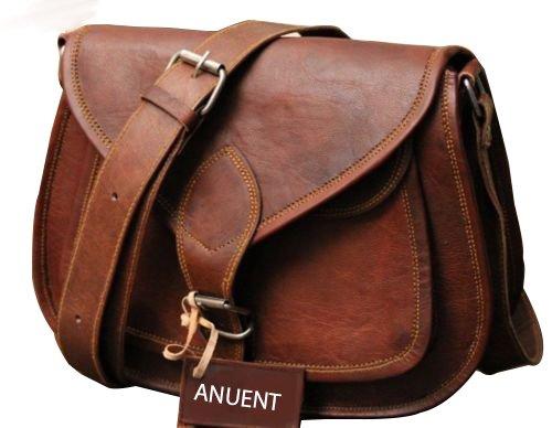 9 Women's Real Leather Shoulder Cross Body Satchel Saddle Tablet Retro Rustic Vintage Bag Handbags Purse ANUENT ANU.786.15