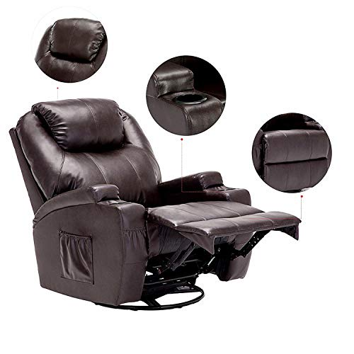 windaze Massage Recliner Chair, 360 Degree Swivel Heated Recliner Bonded Leather Sofa Chair with 8 Vibration Motors,Brown (Massage Chair Heated)
