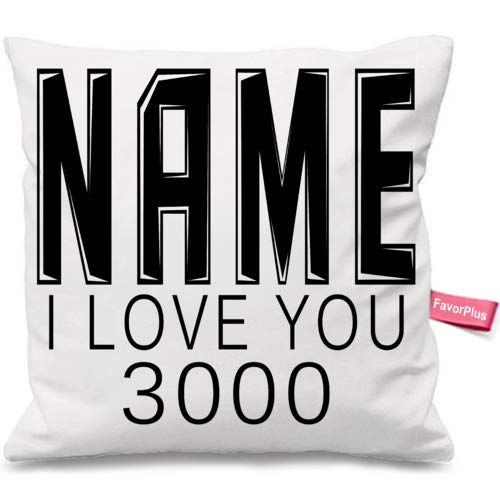 FavorPlus Pillowcase Personalized Name Text I Love You 3000 Gift Custom Sofa Couch Throw Cushion Cover DIY Pillow Sham Case 12X12 Inches (Custom Shams Pillow)
