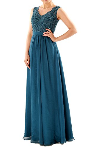 Party Neck Long Gown Formal Lace Prom Chiffon Evening Teal Women V Dresses MACloth EZxqXgzwE