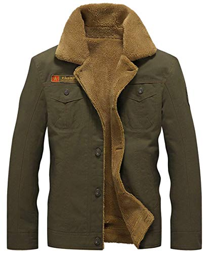 Apparel Warm Outdoor Quilted Windproof Winter Men's Thick Armee Parka Bomber Grün Jackets Lining Men's Cashmere Ntel Cotton Y8qEEw