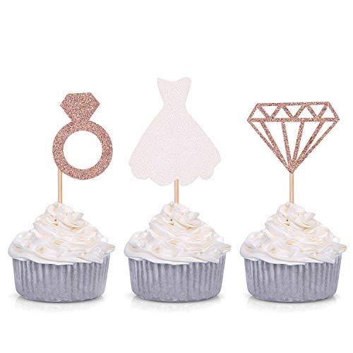 Juego de 24 anillos de damón con purpurina para vestido de boda y decoración de cupcakes, para compromiso, novia, ducha,...