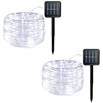 Lalapao Rope Lights 2 Pack Solar Powered Xmas String Lights 120 LED Christmas Fairy Decor Lighting with 8 Modes for Outdoor Indoor Tree Garden Patio Lawn Holiday Bedroom Wedding Waterproof (White)
