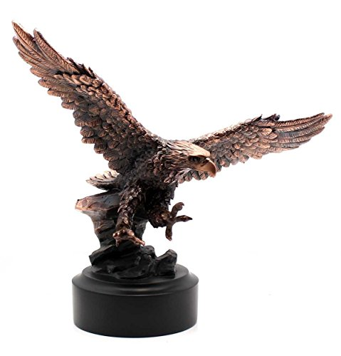 Patinated Copper Plated Eagle Departing A Rock Crag Bronze Look Figurine Sculpture Statue