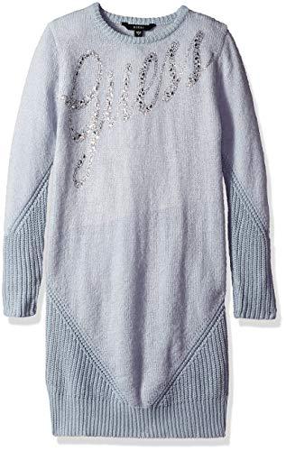 (GUESS Girls' Big Long Sleeve Bling Graphic Logo Sweater Dress, Icing Blue 12 )