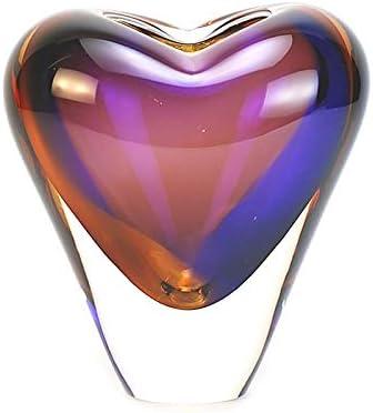 Murano Glass Design Crystal Heart Vase Topaz Amethyst 7 Ht. 6 Length