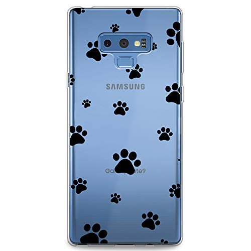 CasesByLorraine Samsung Note 9 Case, Cute Pet Paw Prints Pattern Clear Transparent Case TPU Soft Gel Protective Cover for Samsung Galaxy Note 9 (P84)