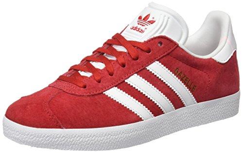 Adidas Originals Gazelle Mens Utbildare Gymnastikskor Scarle / Skor Vit / Guld Metallic