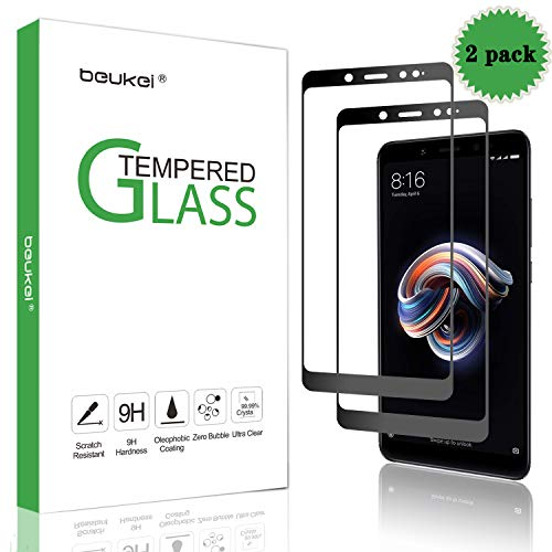(2 Pack) Beukei for Xiaomi Redmi Note 5 / Redmi Note 5 Pro Tempered Glass Screen Protector, Glass with 9H Hardness, with Lifetime Replacement Warranty,for Redmi Note 5